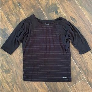 Calvin Klein Striped Maternity work out top.